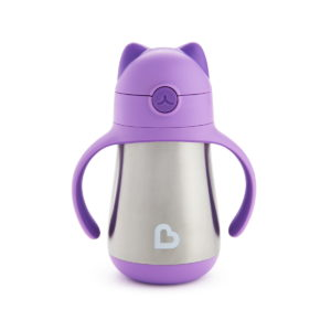 COOL CAT - STAINLESS STRAW CUP - purple