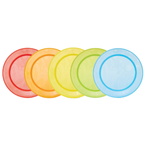 5 MULTI-COLOURED FEEDING PLATES