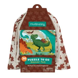 "MUDPUPPY. Παζλ ταξιδίου 36 κομματιών σε υφασμάτινη τσάντα ""Δεινόσαυροι"""