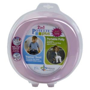 Potette Plus – φορητό γιογιό ταξιδίου ροζ/λευκό